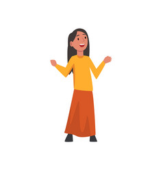 Cute happy arab little girl in traditional clothes vector