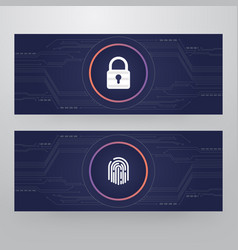cyber security lock - finger print access card vector image