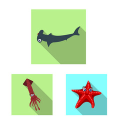 design of sea and animal icon set of sea vector image
