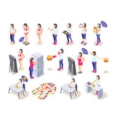 diet isometric icon set vector image