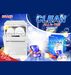 dish wash soap ads realistic plastic dishwashing vector image