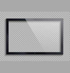Empty tv frame with reflection and transparency vector
