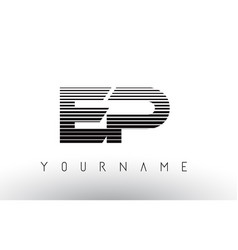 ep e p black and white horizontal stripes letter vector image