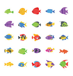 fishes flat icons set vector image