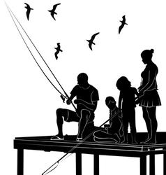 Fishing family vector
