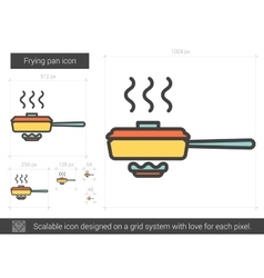 Frying pan line icon vector