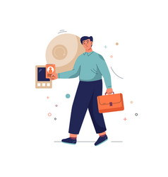 Get early access concept man with briefcase vector