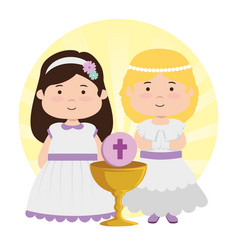 Girsl with dress and chalice to first communion vector