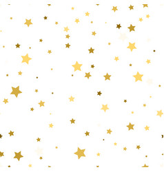Golden scattered chaotically confetti-stars on vector
