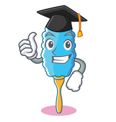 graduation feather duster character cartoon vector image