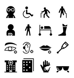 Handicap and disabled people icon set vector