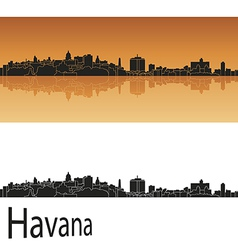 Havana skyline in orange background vector