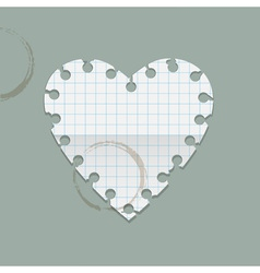 Heart paper note with coffee stains vector image