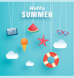 Hello summer with decoration origami hanging vector