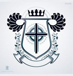 heraldic sign made with different vintage elements vector image vector image