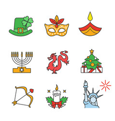 holidays color icons set vector image