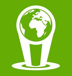 hologram globe icon green vector image