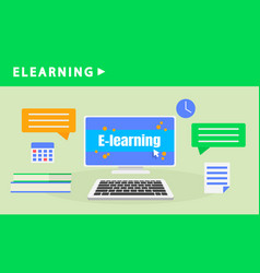 home elearning banner flat style vector image