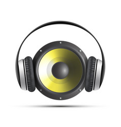 Icon speaker with headphones vector
