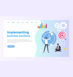 implementing business solution and technologies vector image