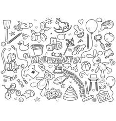 Kindergarten colorless set vector image