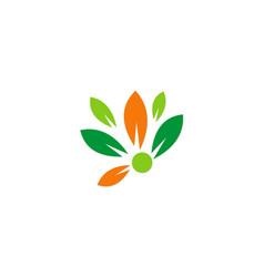 leaf flower colorful logo vector image