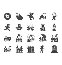 Life cycle icon set vector
