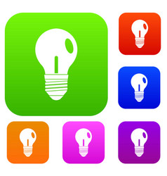 light bulb set color collection vector image