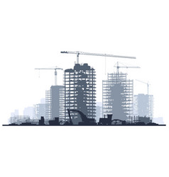 Line construction site with crane and building vector