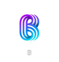 logo b strips blue violet monogram ribbons vector image