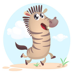 lovely cartoon of zebra dancing vector image