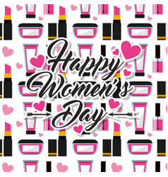 make up cosmetics happy womens day background vector image