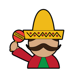 Man with sombrero holding maraca mexico culture vector