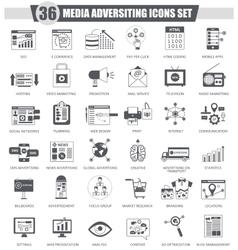 Media adversiting black icon set Dark grey vector
