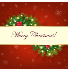 Merry Christmas Background With Fur Trees vector image