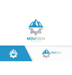 mountain and gear logo combination nature vector image