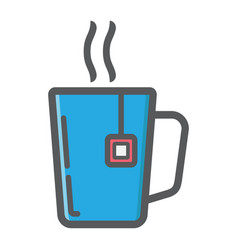 Mug of tea colorful line icon business vector