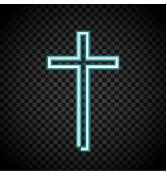 neon cross glowing cross religion christianity vector image