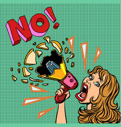 no woman with megaphone protest policy vector image