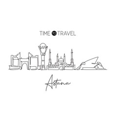 One continuous line drawing astana city vector