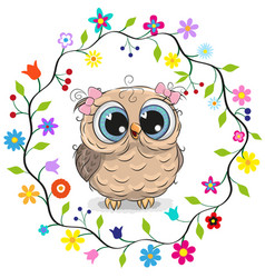 Owl girl in a flowers frame vector