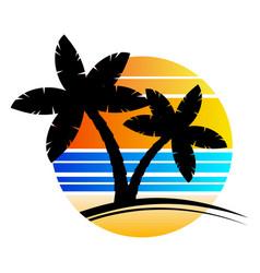 Palm tree sundown or sunrise paradise poster vector