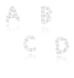 Paper alphabet letters font A B C D vector