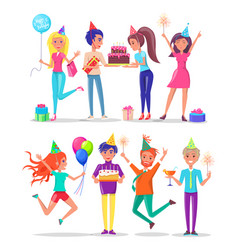 people partying celebrating birthday party friend vector image