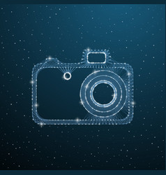 photo camera polygonal image on dark blue vector image