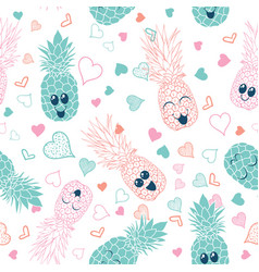 pink and blue pineapple faces seamless pattern vector image