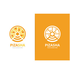 pizza and wifi logo combination food and vector image