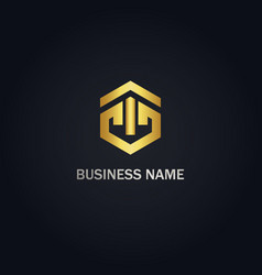 polygon geometry business gold logo vector image