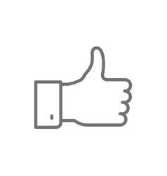 Positive feedback thumbs up like line icon vector