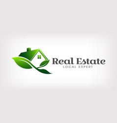 real estate eco house logo vector image
